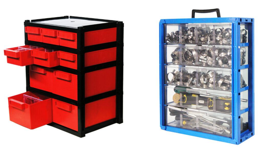 תאי אחסון מפלסטיק לבנייה מודולרית עם חלוקה פנימית רב תא שקוף נייד